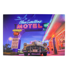 Battery Operated 6 LED Paradise Beach Neon Hotel Scene Canvas Wall Hanging