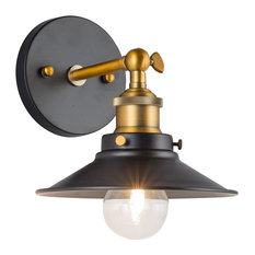 Linea di Liara - Andante Wall Sconce with Bulb, Antique Brass - Wall Sconces