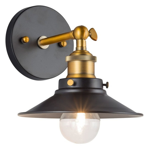 Heights 1 Light Wall Sconce, Matte Black And Antique Brass