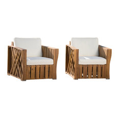 GDF Studio Edward Outdoor Acacia Wood Club Chairs With Cushions, Set of 2