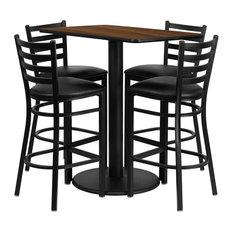 """24""""x42"""" Rectangular Walnut Laminate Table Set With 4 Ladder Back Barstools"""