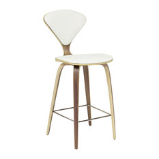 Satine Stool With White Leather Counter Height