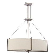 satco products hazel bronze energy star oval 6light chandelier with khaki shade