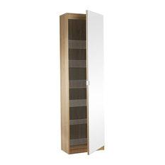 Mirrored Shoe Cabinet, Brown