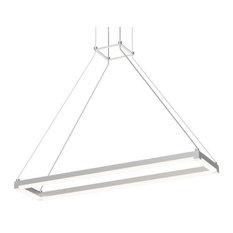 "Stix Rectangle Architectural 30""x6"" LED Pendant, Bright Satin Aluminum"