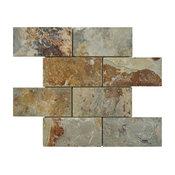 "11.75""x11.75"" Ridge Subway Stone Mosaic Floor and Wall Tile, Sunset Slate"