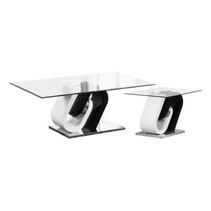Modern White and Cappuccino Coffee and End Table, 2-Piece Set
