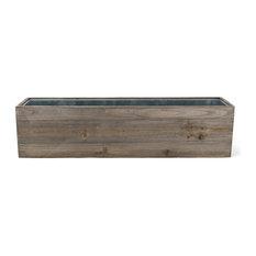 "Natural Wood Window Box Planter With Zinc Liner, 24""x6""x6"", 1 Piece"