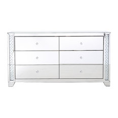 Marina Clear Crystal Mirrored 6-Drawer Cabinet
