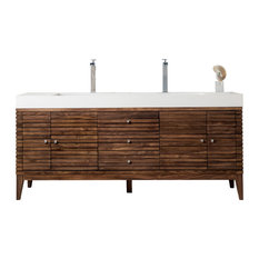 "Linear 72"" Double Vanity Mid Century Walnut w/ Matte White Solid Surface Top"