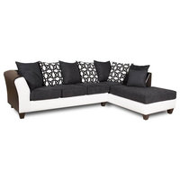 2-Piece Sectional, Black/White