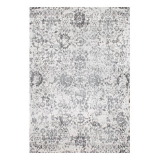 Traditional Vintage Fleur-De-Lis Damask Vineyard Rug, Gray, 9'x12'
