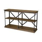 GDF Studio Braylon 3-Shelf Industrial Wood Bookshelf, Dark Khaki