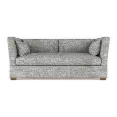 Rivington 6' Crushed Velvet Sofa Silver Streak Extra Deep