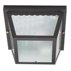 """2 Light - 10"""" Carport Flush Mount- With Textured Frosted Glass"""