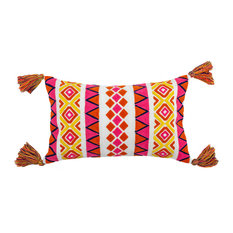 "Embroidered Louise Outdoor Pillow, Pink/Orange, 12""x20"" With Tassels"