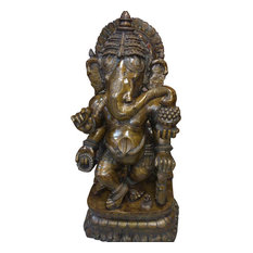 Consigned Antique Ganesha Good Luck Statue Ganpati Bronze Sculpture Yoga Gift - Decorative Objects And Figurines