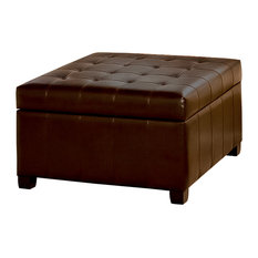 GDFStudio   Lyncorn Leather Storage Ottoman Coffee Table   Footstools And  Ottomans