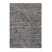 Chevron Handwoven Leather and Jute Flatweave Rug, Black and Gold, 5'x8'