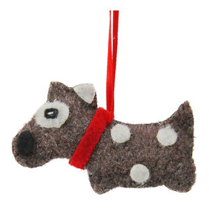 """3"""" Brown With White Dots Plush Dog Christmas Ornament"""