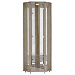 Corner Display Cabinet With LED, 1 Door, 4 Shelves, Walnut