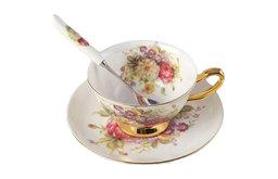 Tea Time Cup, Saucer, Spoon Set, 6.8oz