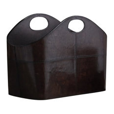 Leather Curved Magazine Basket, Brown