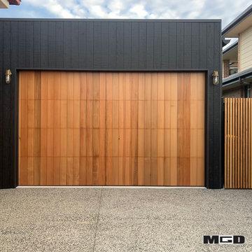 Custom Red Cedar Panel Door & Gates with Vertical Shiplap/Battens