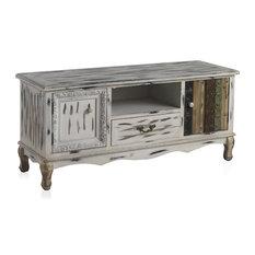 Whitewashed Wooden TV Cabinet