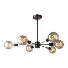 16116-G125 Ethan 6-Light Chandelier, Brushed Brass and Black