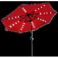 Outdoor Patio 32 Led 8 Ribs Solar Powered Aluminium Umbrella Crank Tilt, Red