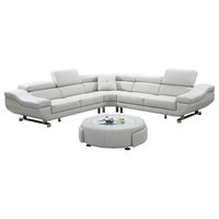 3-Piece Sectional With Ottoman Coffee Table, Cloud White