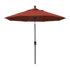 9' Aluminum Market Umbrella Auto Tilt Bronze, Sunbrella, Terracotta