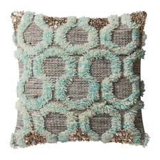 Loloi x Justina Blakeney Dset Pillow Cover With Down, Teal and Gray, 22""