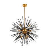 Transitional 10 Light Pendant in Light Antique Brass-Flat Black