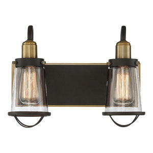 Lansing 2-Light Bath Bar, English Bronze and Warm Brass With Clear Glass