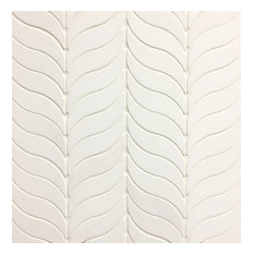 "Feather-Thassos White 10.5""x12"", Water Jet Mosaic Tile, Full Sheet Sample"