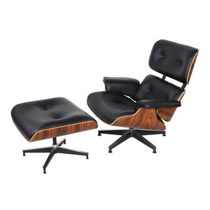 2-Piece Mid-Century Plywood Lounge Chair and Ottoman Set, Black/Palisander