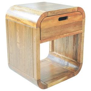 Mango Wood Side Table, Matching Drawer