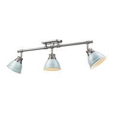 Duncan 3-Light Semi-Flush, Track Light, Pewter With Seafoam Shades