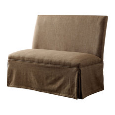 Cullen Transitional Skirted Loveseat In Brown