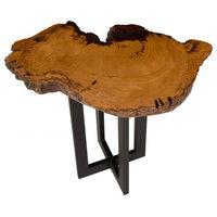 "29"" L End Side Live Edge Table Burled Wood Free Form Slab Wood Grain Acacia"
