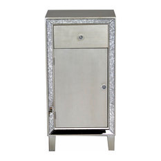 35.8-inch Brown MDF Wood And Mirrored Glass Accent Cabinet With A Drawer And Door