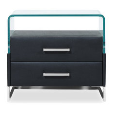 Modern Janus Black Leatherette Accent Table with Bent Glass and 2 Drawers