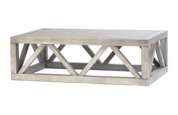 """52"""" Michelina Coffee Table Solid Wood Latice Pattern Base Antique White Washed"""