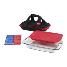 Pyrex 1102266 Portables Easy Grab Portable Bakeware Set, 4 Piece