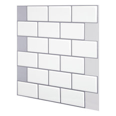Subway Mono White Peel and Stick Wall Tile, 10 Pack