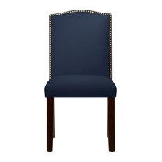 Powell Nail Button Camel Back Dining Chair, Velvet, Blue