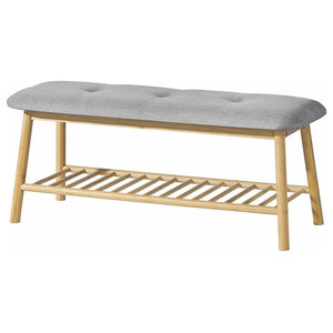 Contemporary Shoe Rack Bench, Natural Bamboo Wood With Cushioned Seat