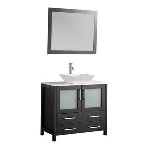 Vanity Art Vanity Set With Vessel Sink, Espresso, 36